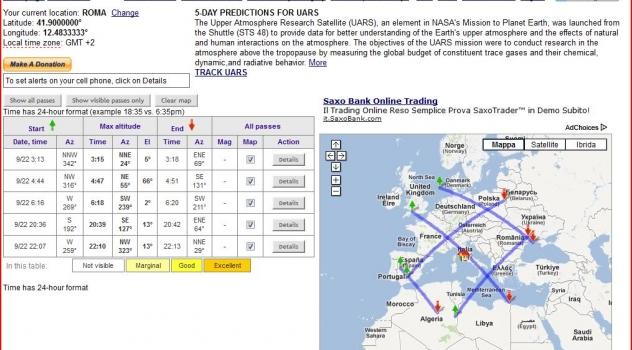 [aggiornato]In diretta al telescopio il rientro del satellite UARS in Italia (forse)